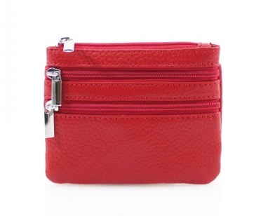 Leather 3 Zip Keyring Coin Purse - Various Colours