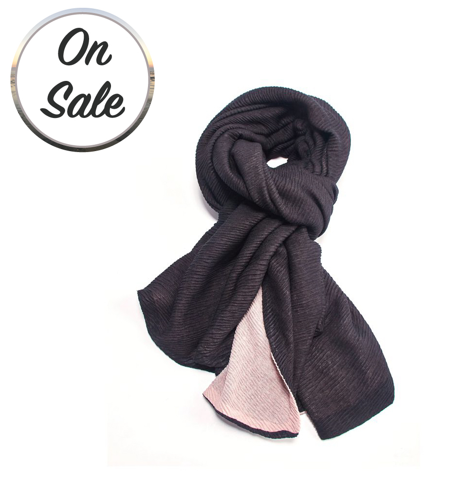 Two Tone Chunky Pleated Scarf - Black/Pink