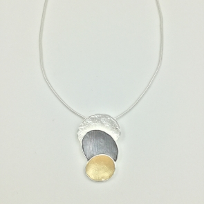 Yellow & Grey Layered Ovals Necklace & Earrings Set