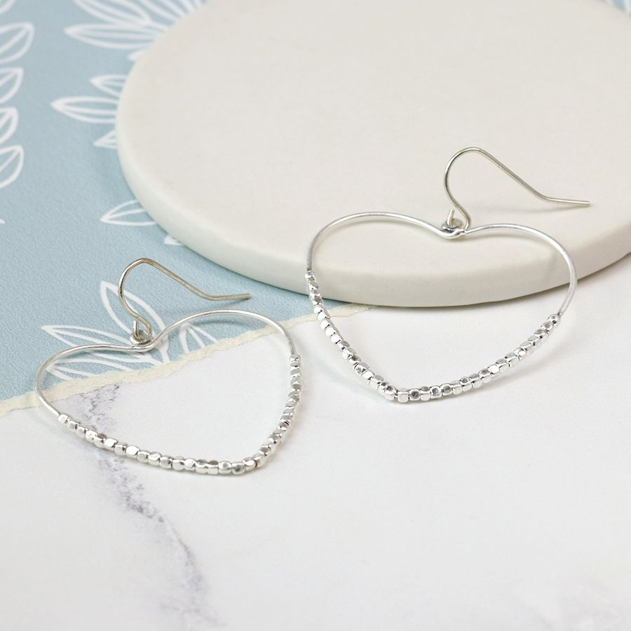 Silver plated open beaded heart earrings