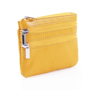 Leather 3 Zip Keyring Coin Purse - Orange