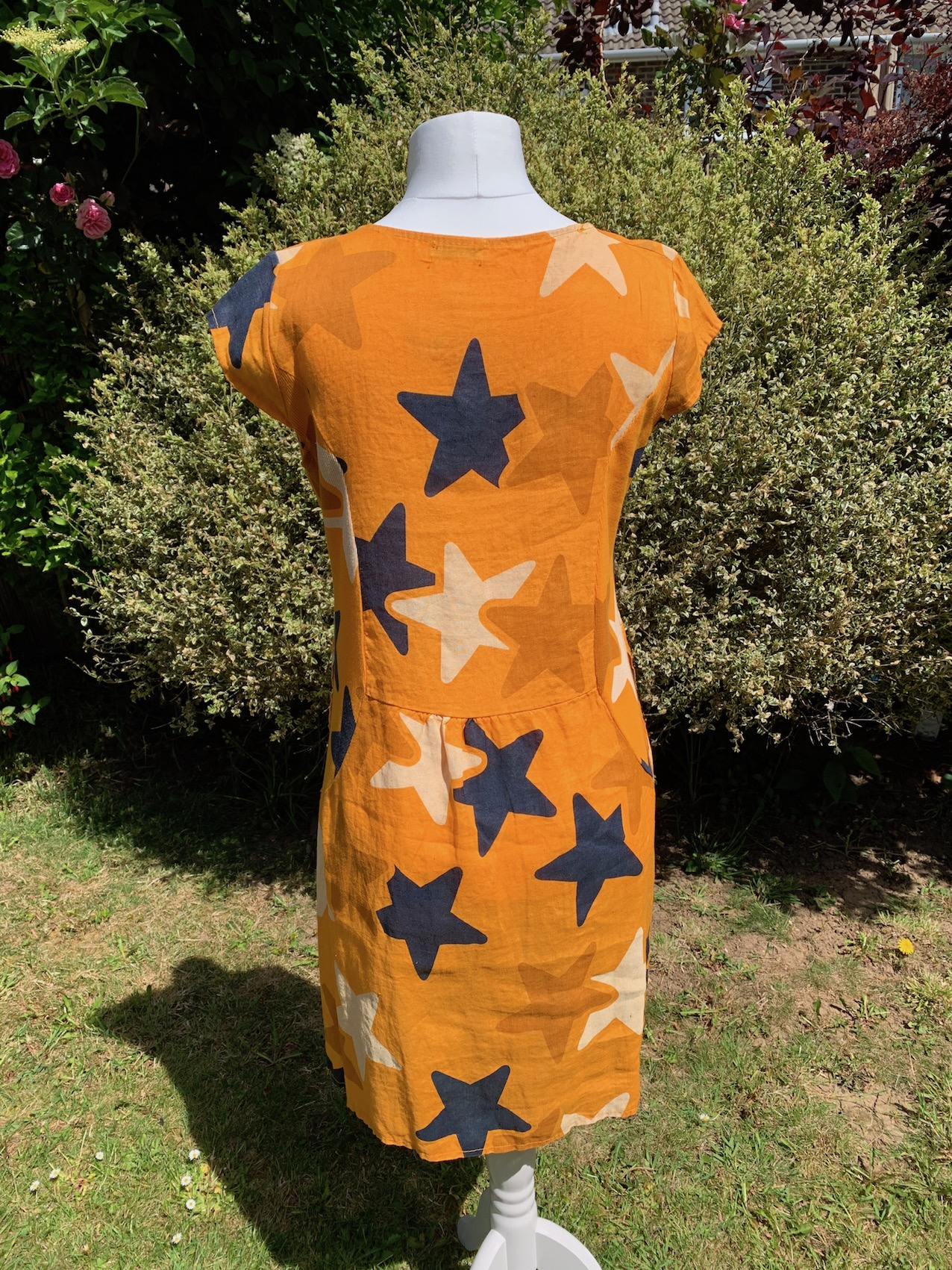 Italian Star Print Linen Dress - Orange