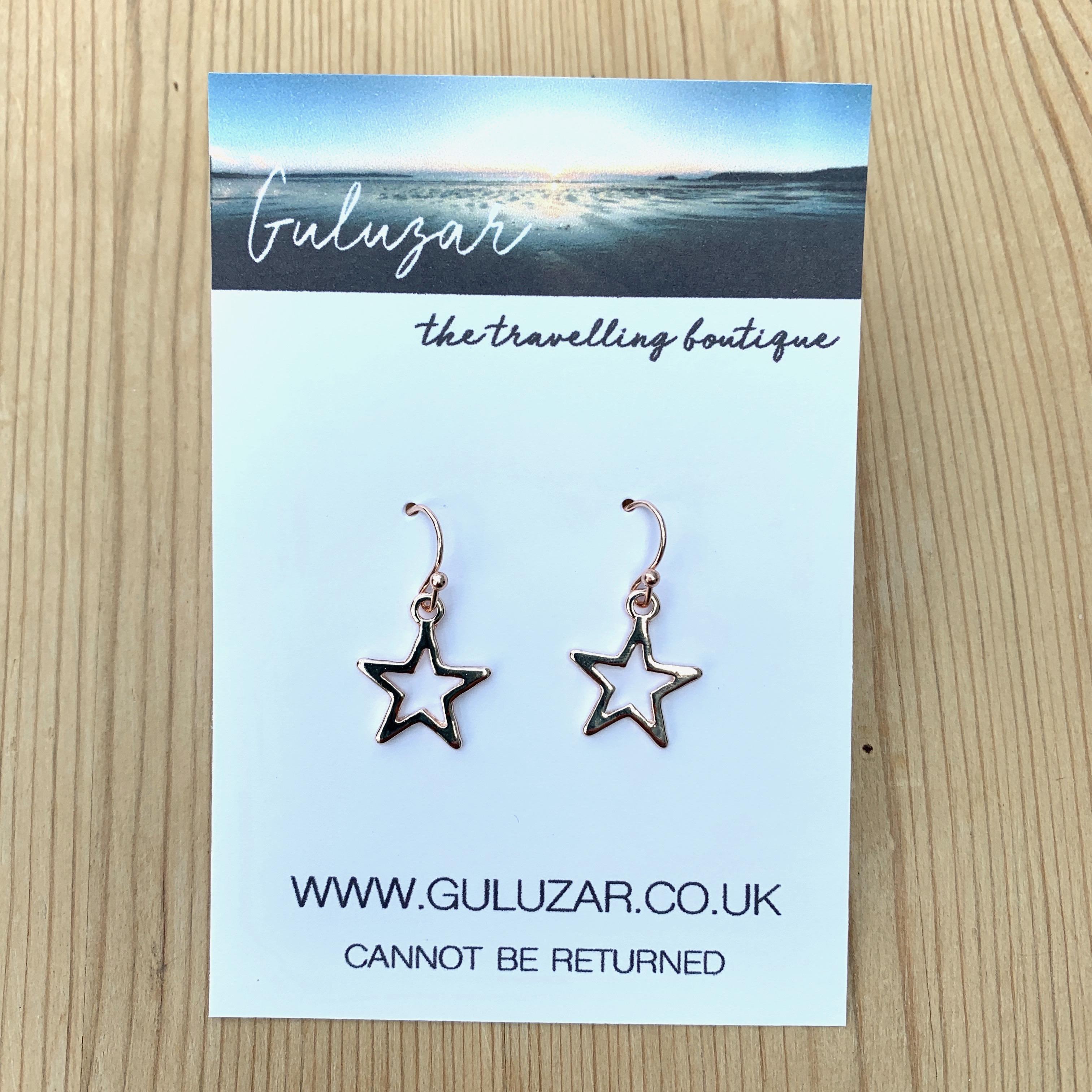 Drop Star Outline Earrings - Rose Gold