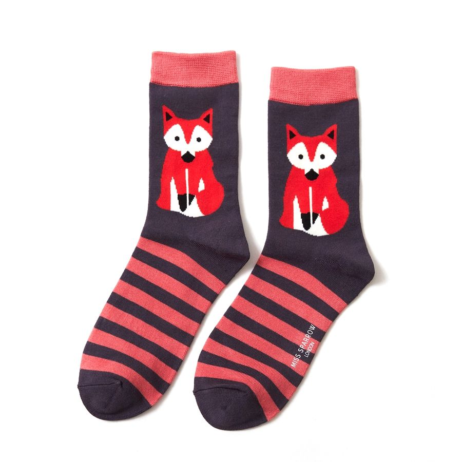 Ladies Fox & Stripes Bamboo Socks - Navy