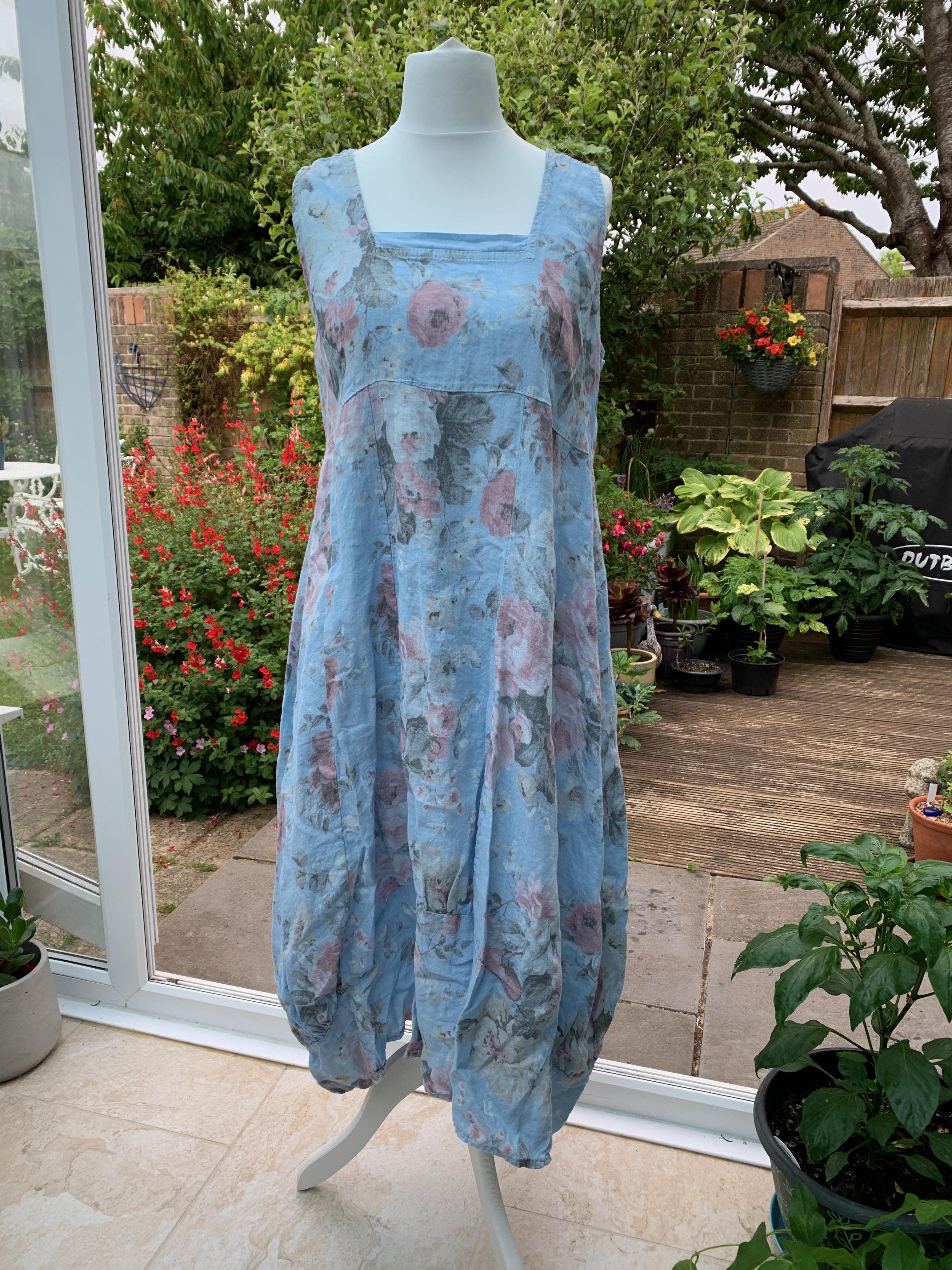 Italian Linen Long Floral Dress - Purple