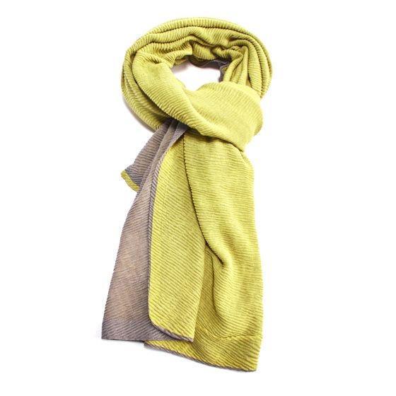 Two Tone Chunky Pleated Scarf - Lime/Grey