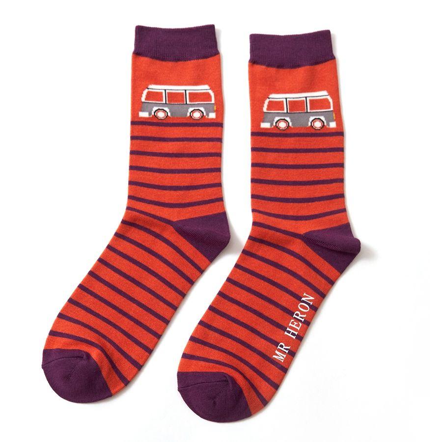 Men's Camper Stripe Bamboo Socks - Orange