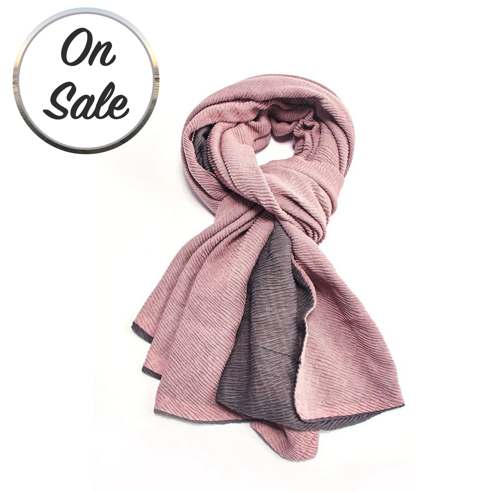 Two Tone Chunky Pleated Scarf - Pink/Grey