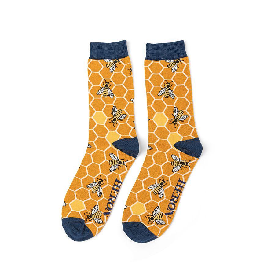 Men's Bee Hive Bamboo Socks - Mustard