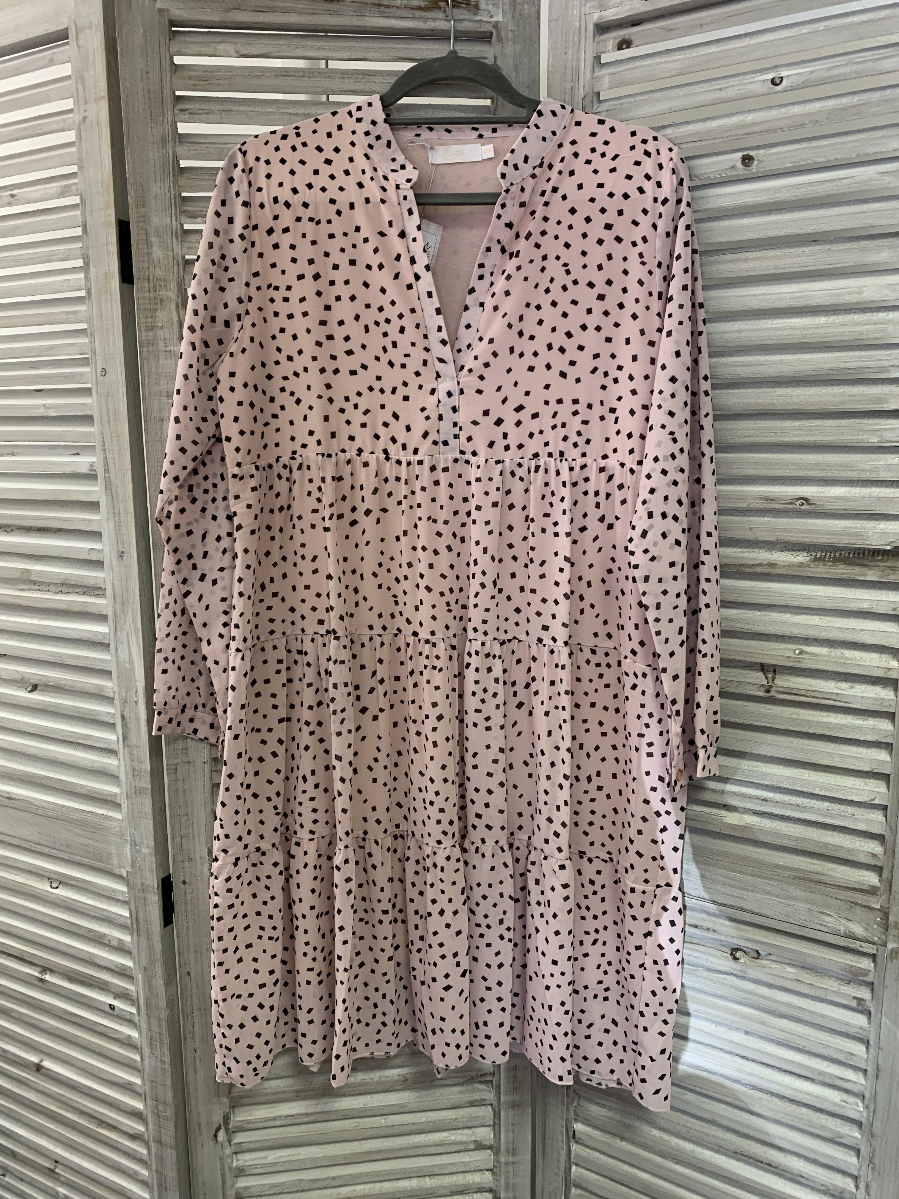 Geometric Print Tiered Dress Size 6-12 - Pink