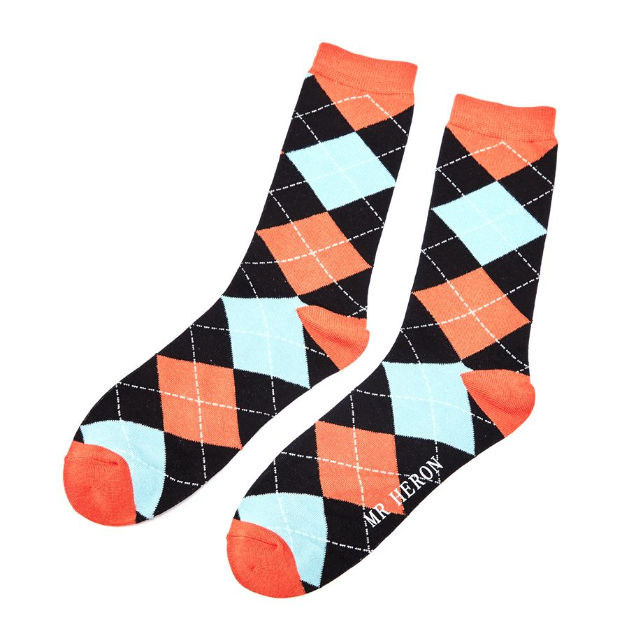 Men's Argyle Bamboo Socks - Black