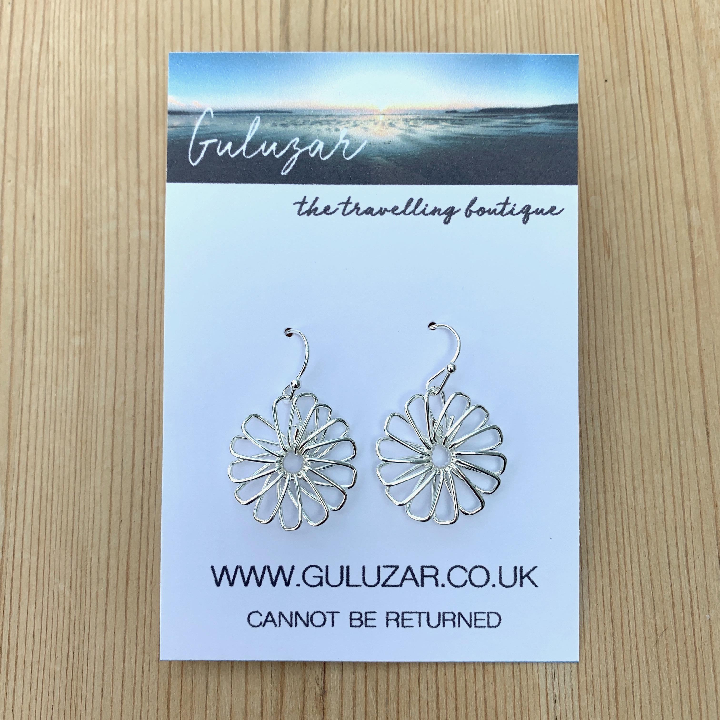 Wire Flower Earrings - Silver