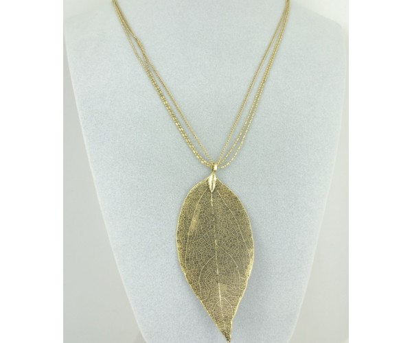 Antique Gold Skeleton Leaf Necklace - Long