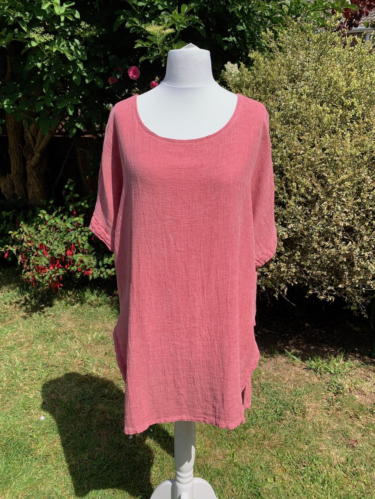 Italian Linen Long Dip Hem Tunic - Dusky Pink