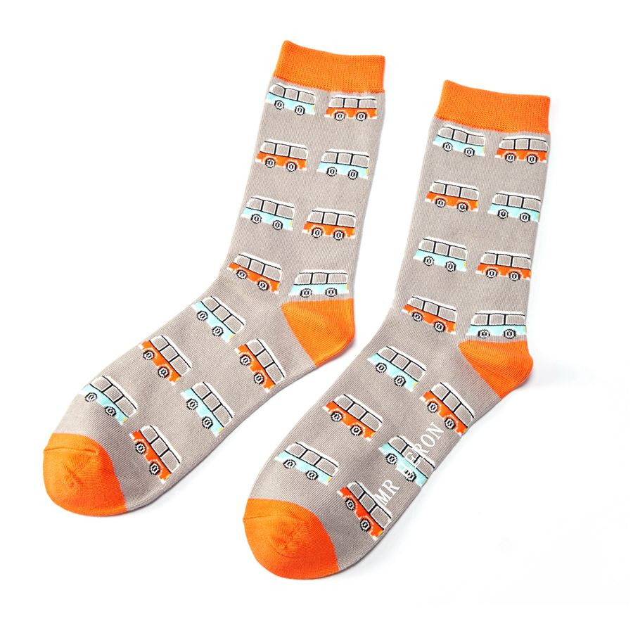Men's Campervan Bamboo Socks - Grey