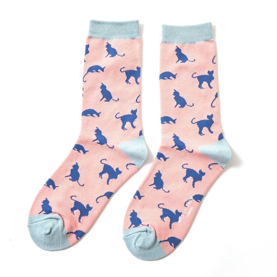 Ladies Cats Bamboo Socks - Pink