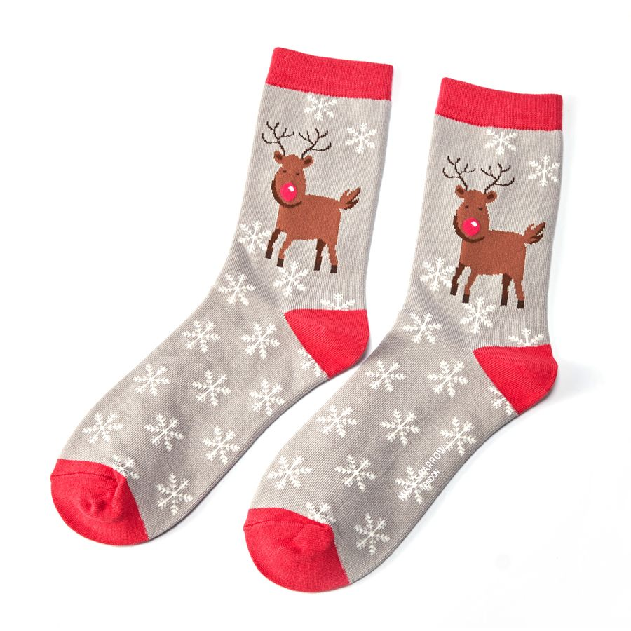 Ladies Rudolph Snowflakes Bamboo Socks - Grey