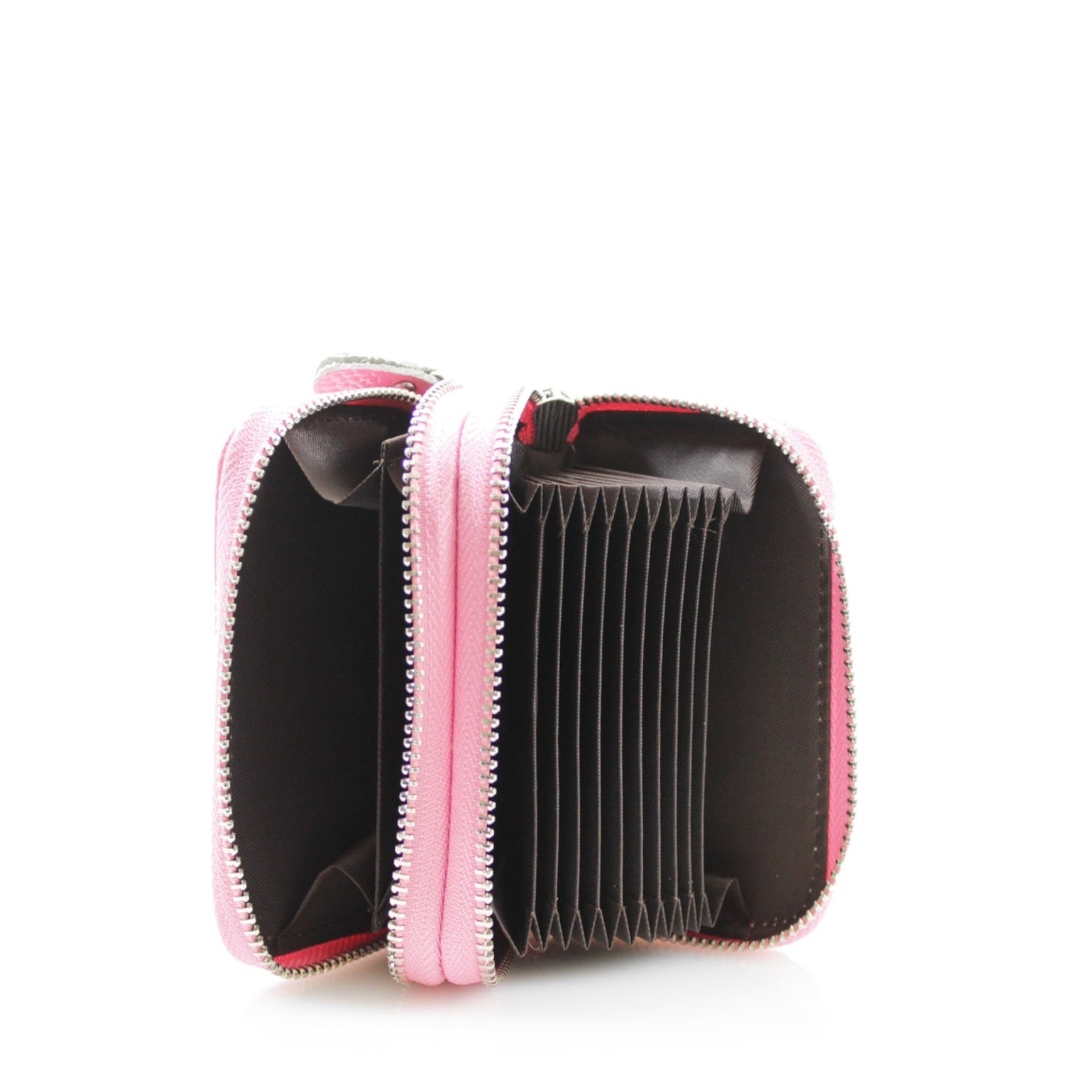 Double Zip Leather Card Holder - Various Colours