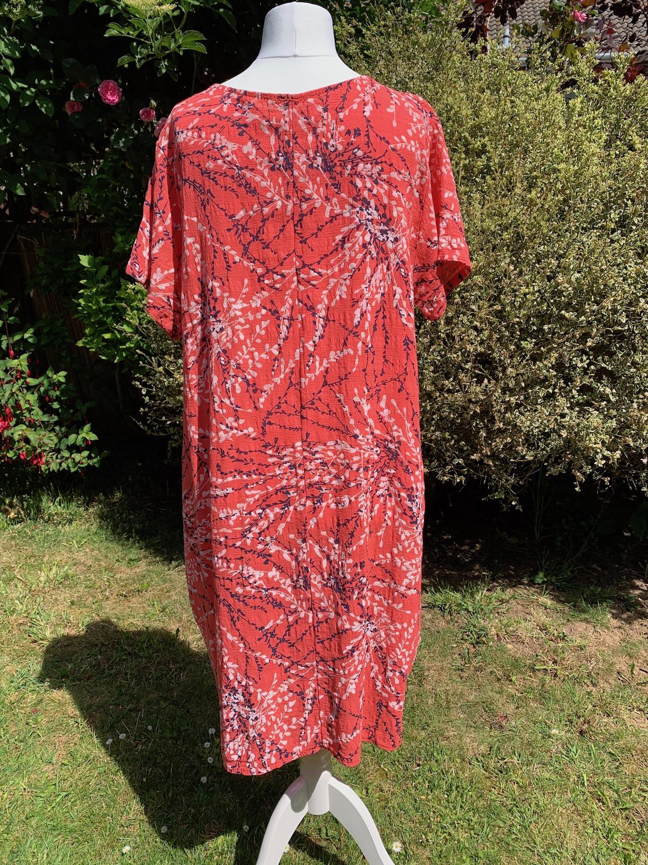 Italian Cotton Branch Print Long Dress - Coral