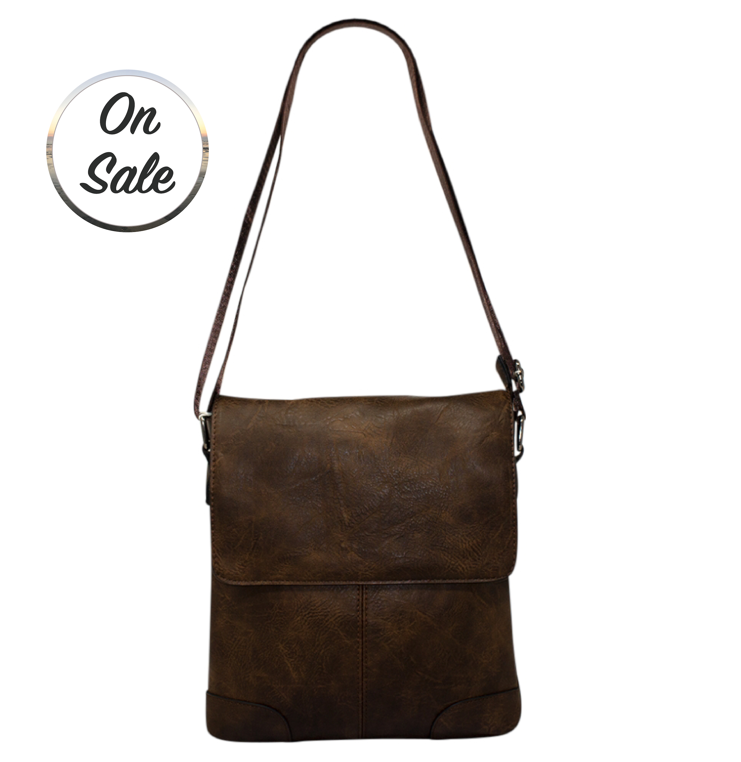 Men's Flapover Crossbody Bag - Coffee