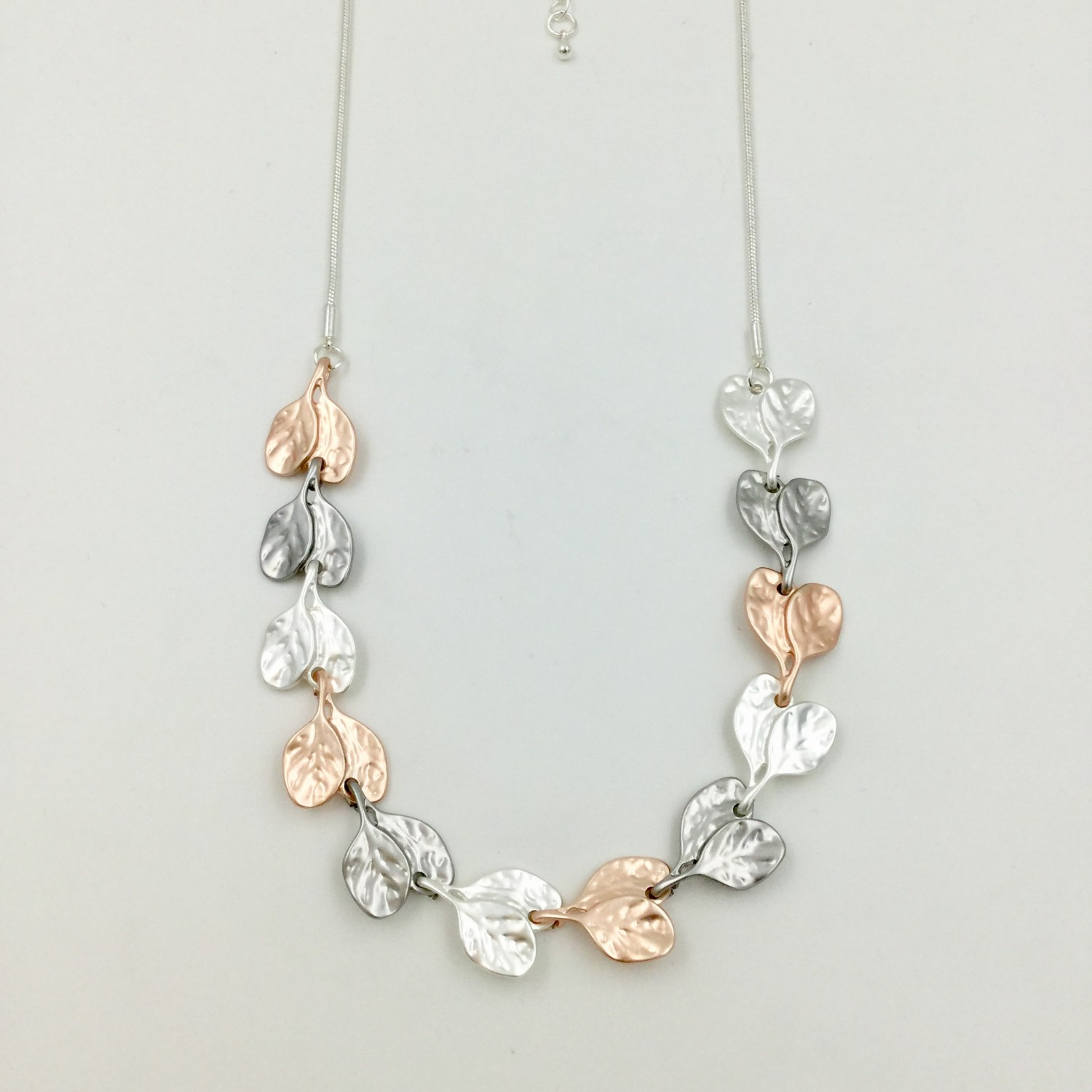 Leaf Chain Necklace Rose Gold, Grey & Silver