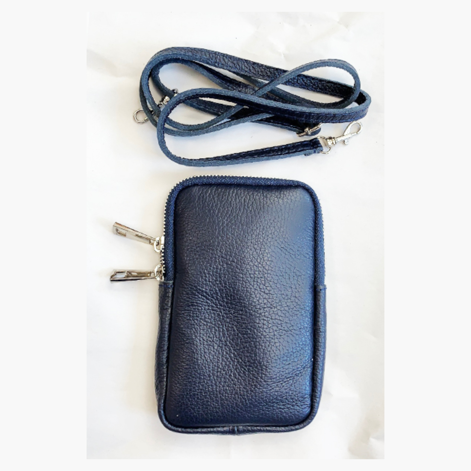 Real Leather Cross Body Mobile Pouch - Navy Blue