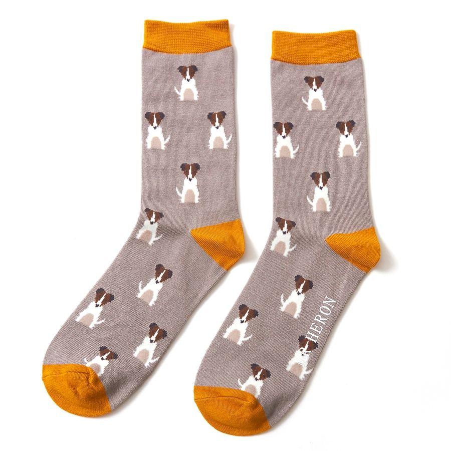 Men's Mini Jack Russells Bamboo Socks - Grey