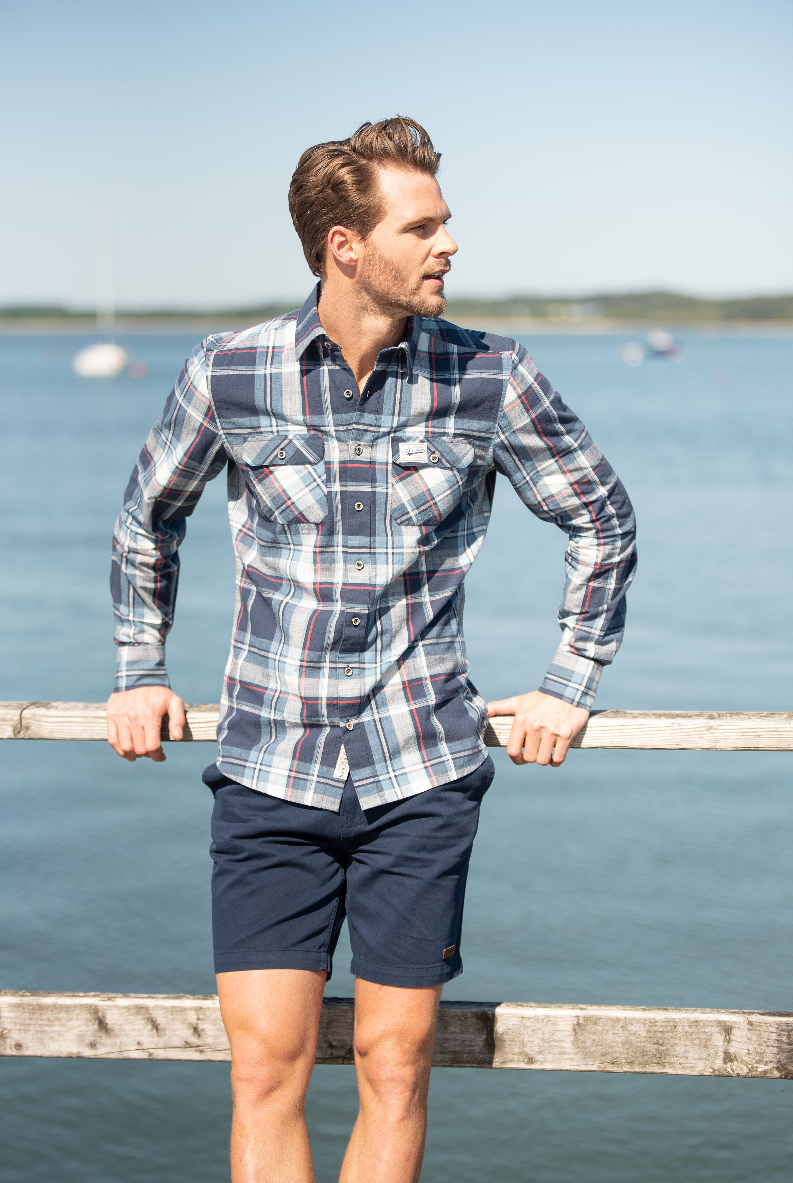 Brakeburn Long Sleeve Shirt - Blue Check