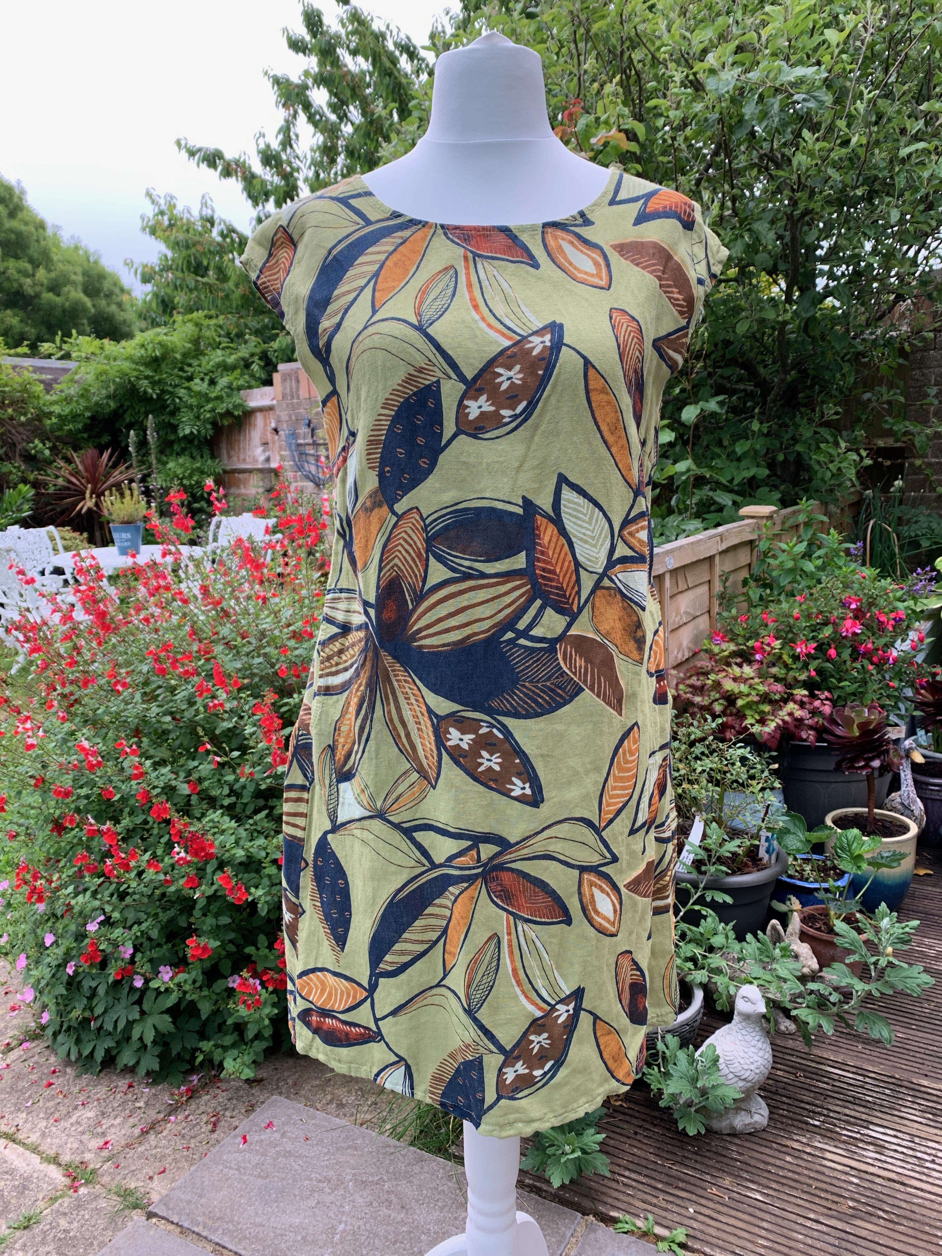 Italian Linen Foliage Print Dress - Various Colours