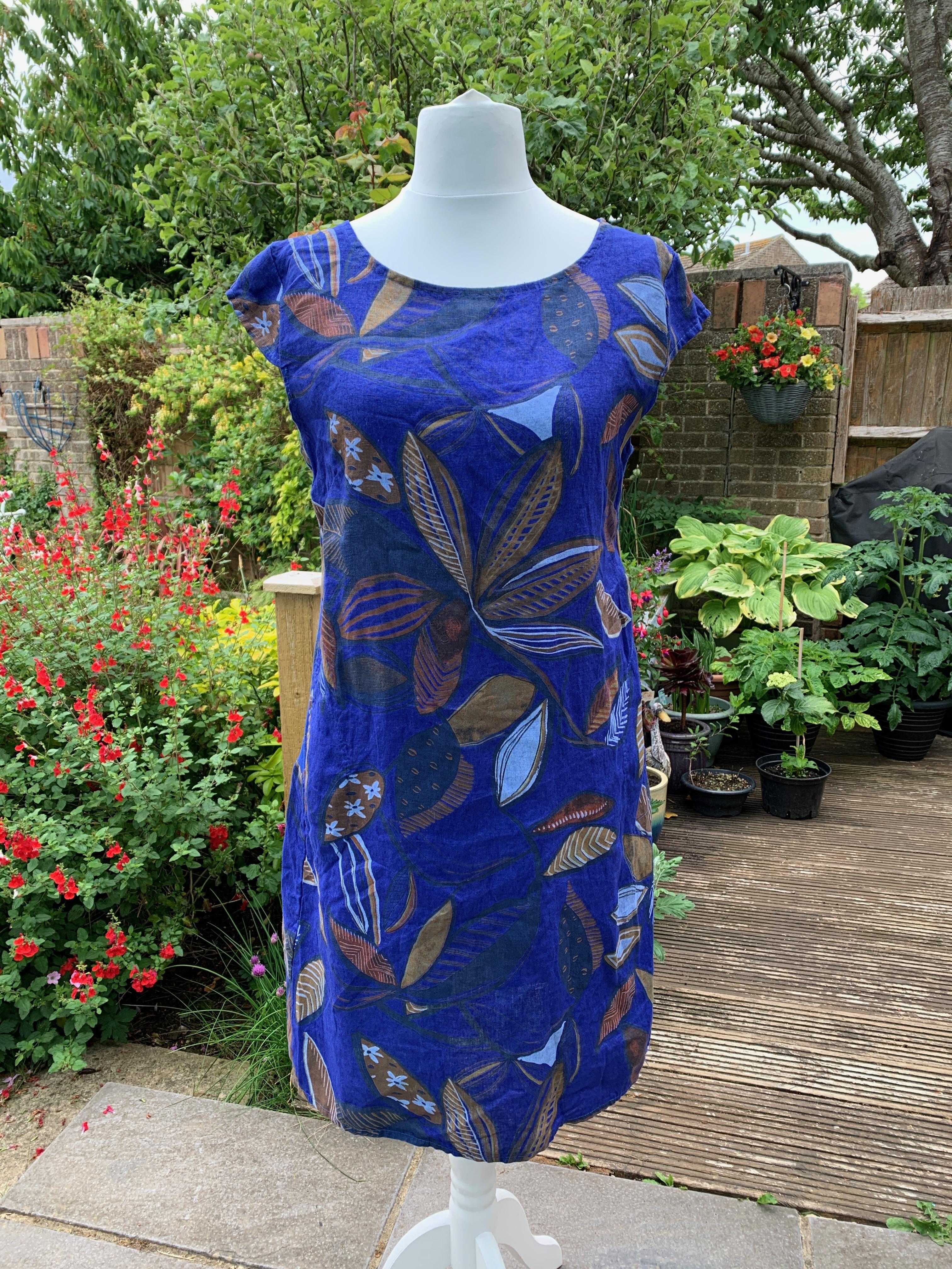 Italian Linen Foliage Print Dress - Royal Blue
