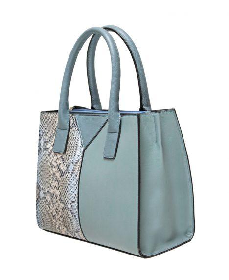 Contrast Snakeskin Panel Grab Bag - Blue