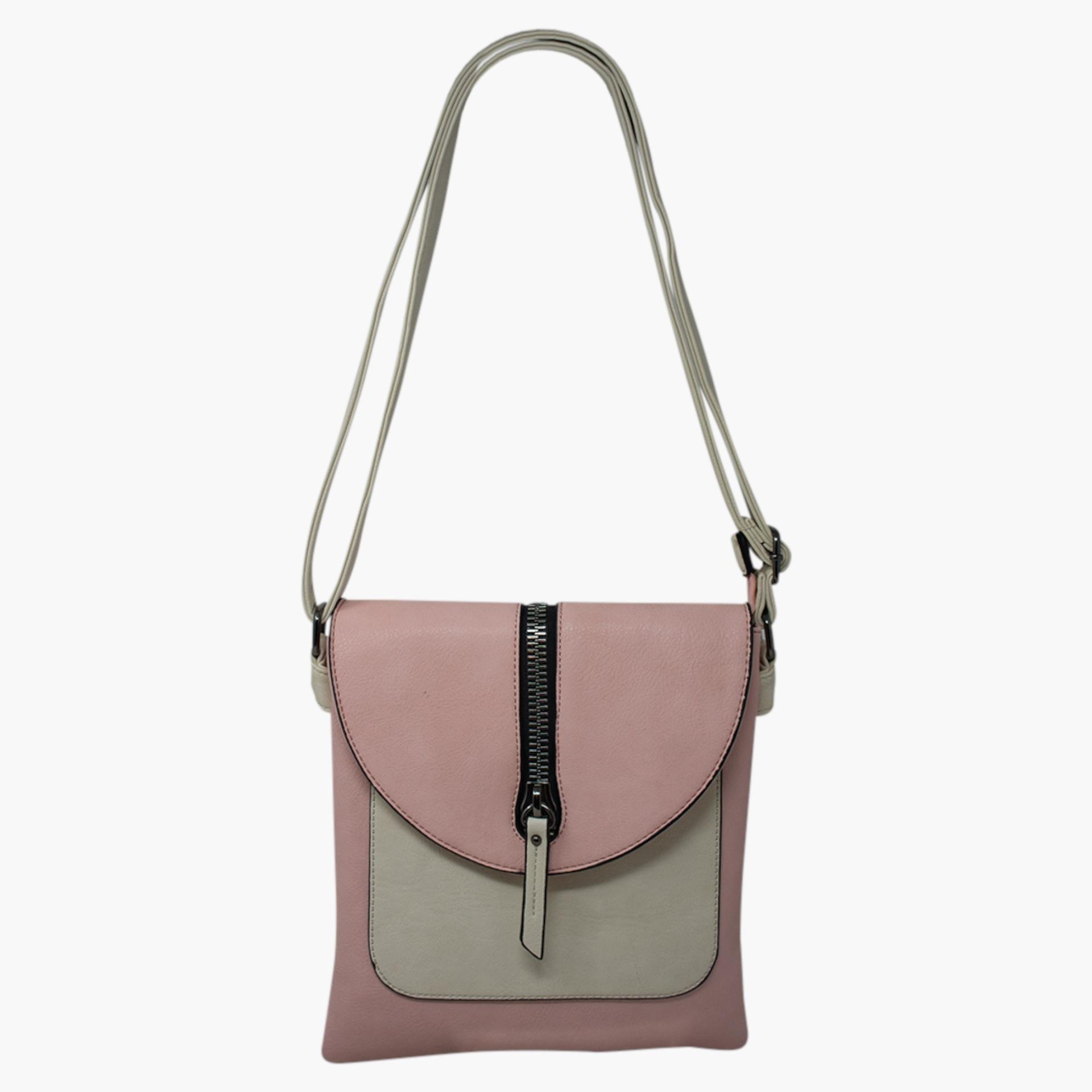 Cross Body Bag with Zip Detail - Pink/Cream