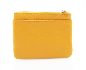 Leather 3 Zip Keyring Coin Purse - Pink