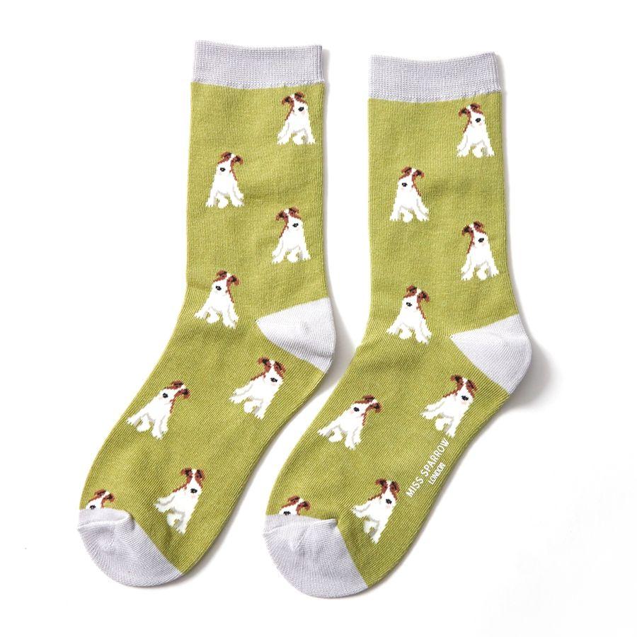 Ladies Fox Terrier Bamboo Socks - Olive