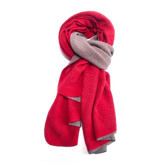 Two Tone Chunky Pleated Scarf - Red/Grey