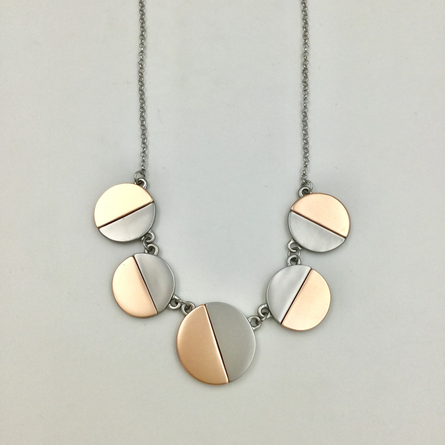 Two Tone Coin Necklace Grey & Rose Gold