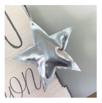 Hanging Silver Fabric Star