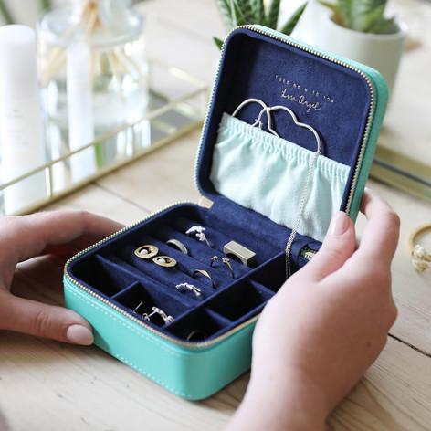 Square Travel Jewellery Box - Turquoise/Navy