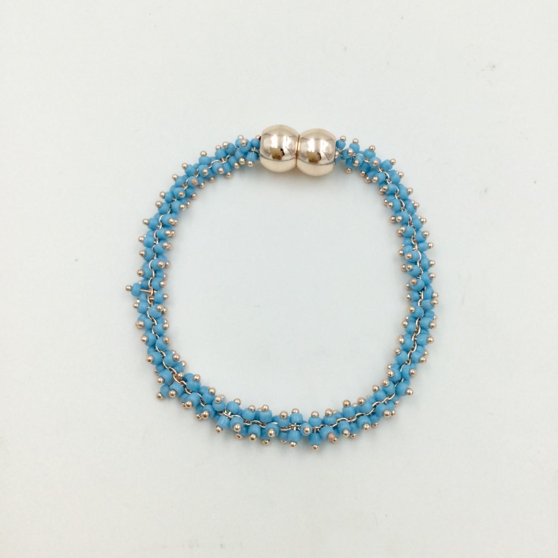 Beaded Necklace & Bracelet Set - Blue