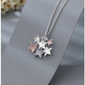 Pink & Grey Star Cluster Necklace & Earrings Set