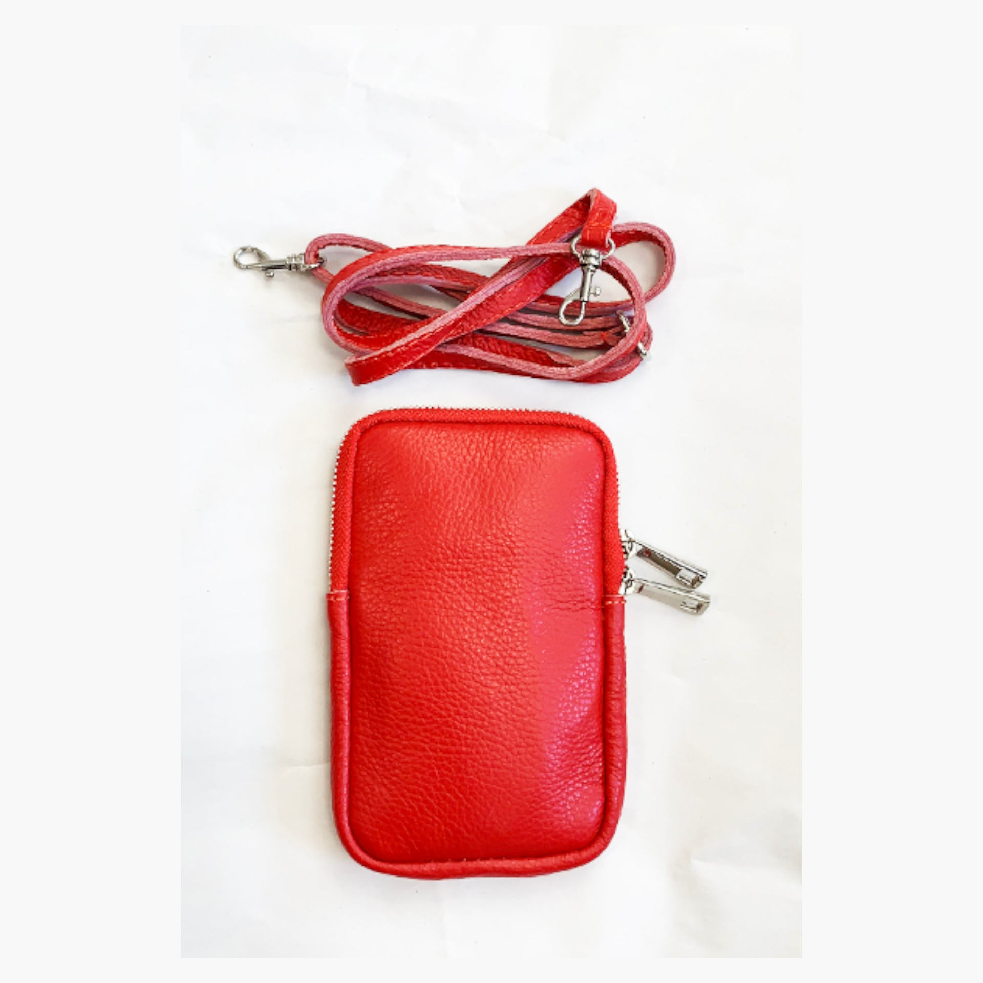 Real Leather Cross Body Mobile Pouch - Red