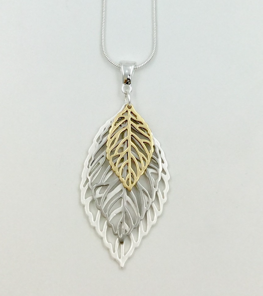 Long Layered Leaf Necklace
