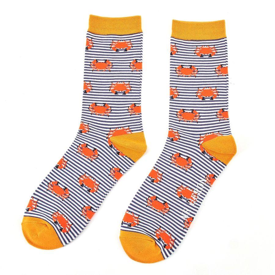 Men's Crab Bamboo Socks - Navy