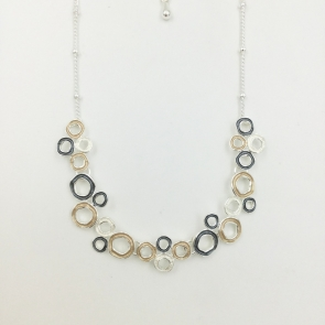 Yellow & Grey Circles Necklace & Earrings Set