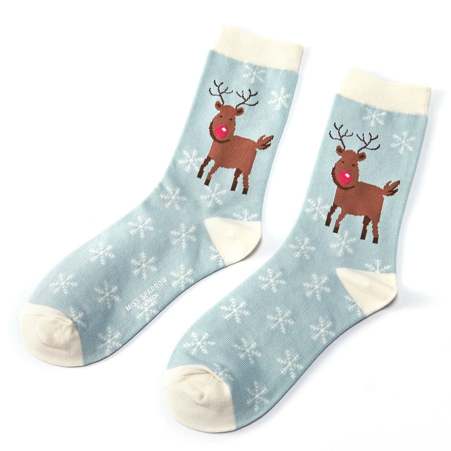 Ladies Rudolph Snowflakes Bamboo Socks - Powder Blue