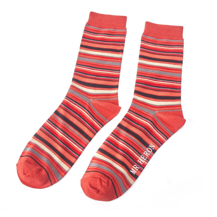 Men's Stripe Bamboo Socks - Orange