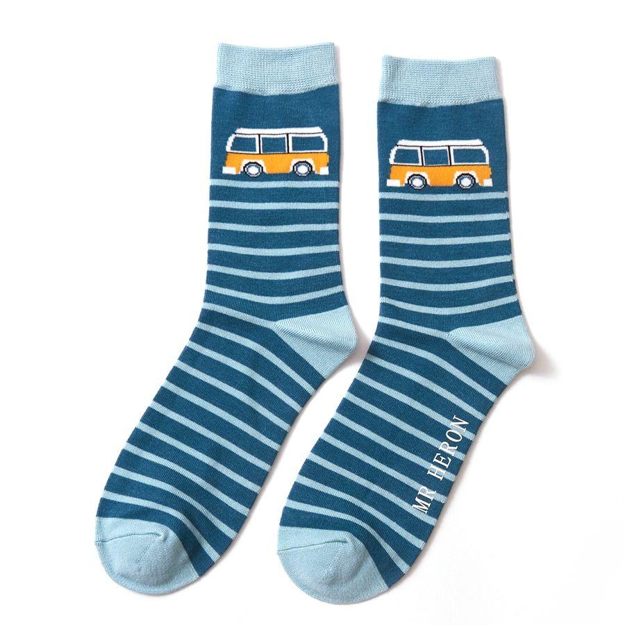 Men's Camper Stripe Bamboo Socks - Teal