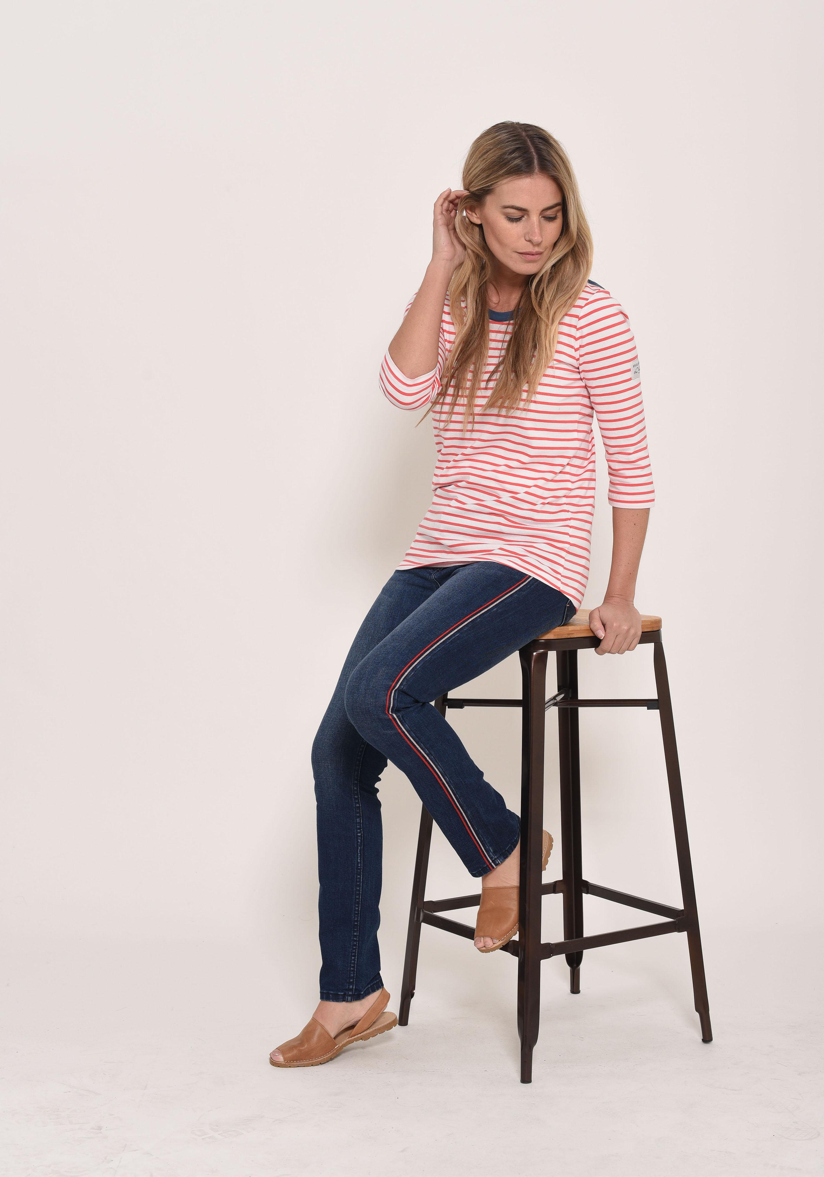 Brakeburn 3/4 Sleeve Stripe T-Shirt - Red
