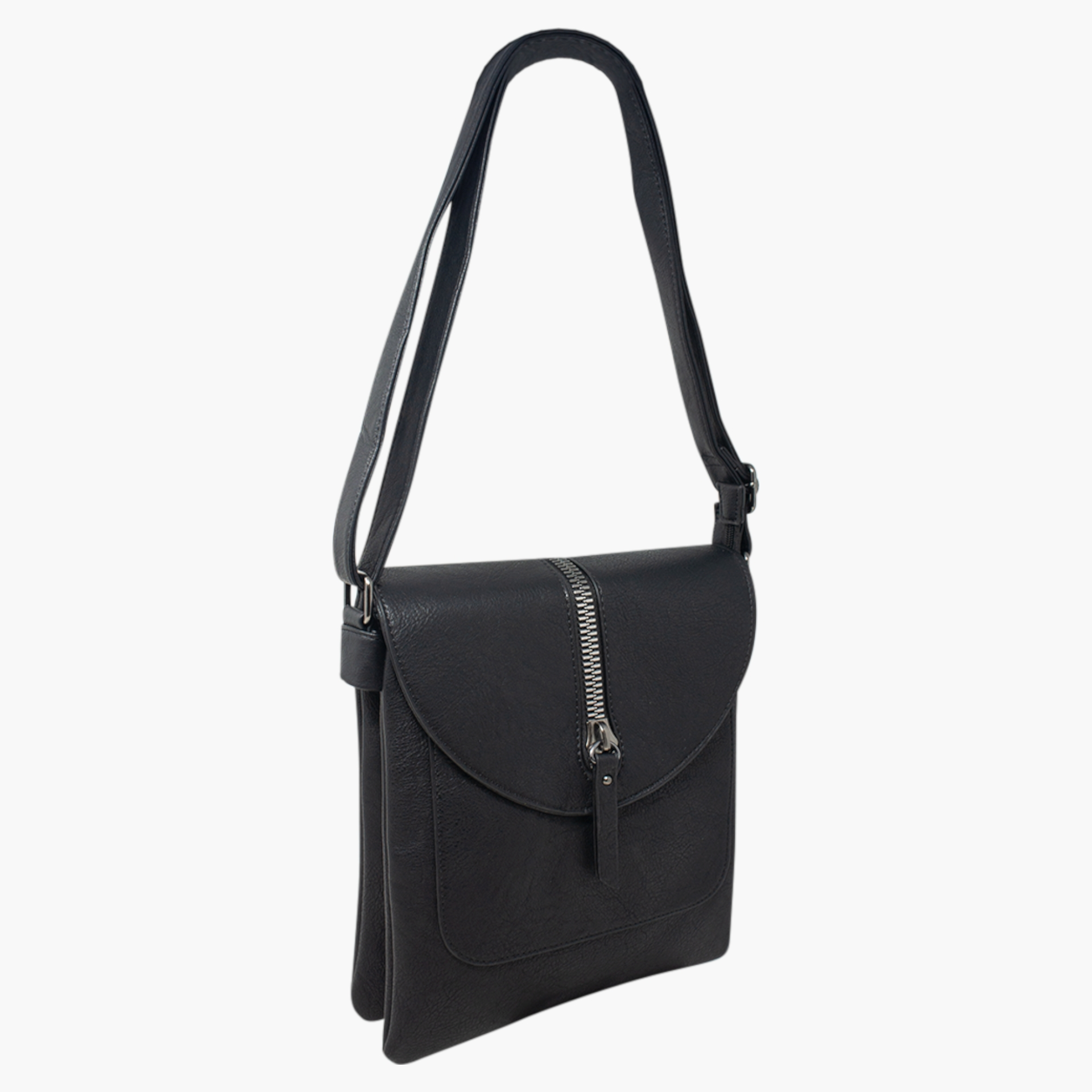 Cross Body Bag with Zip Detail - Black
