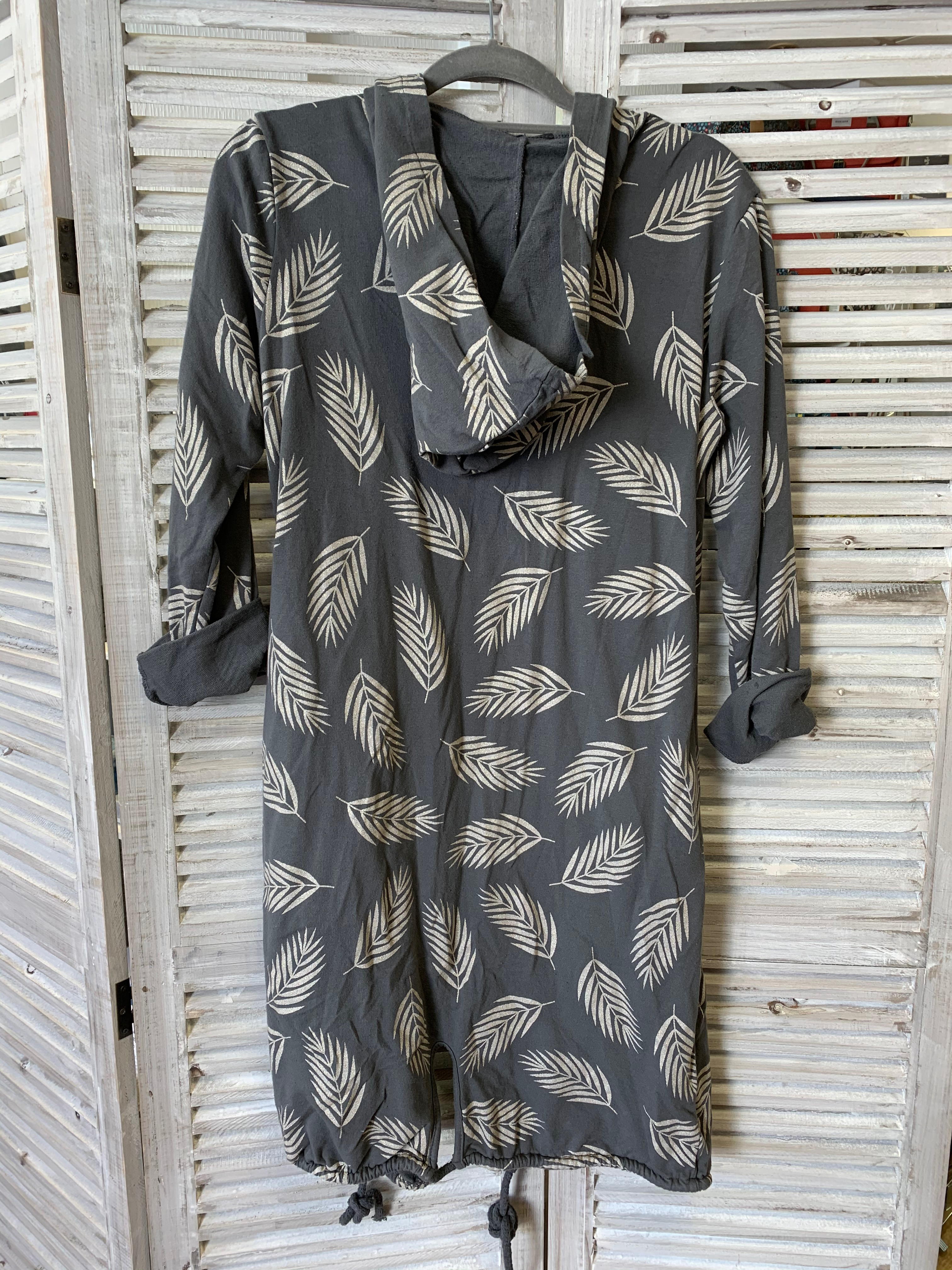 Hooded Palm Print Jacket - Various Colours